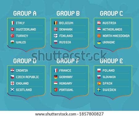 European football championship EURO 2020 / 2021 groups vector  Zdjęcia stock ©