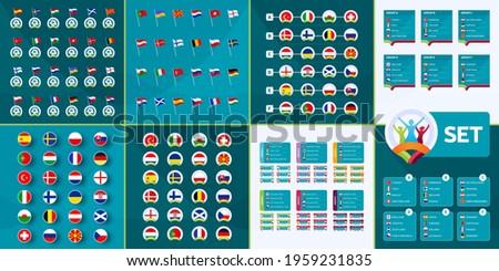 European football 2020 mega set. European football euro 2020 country flags, team groups and matches on tournament background vector set. infographic mega collection  euro 2021