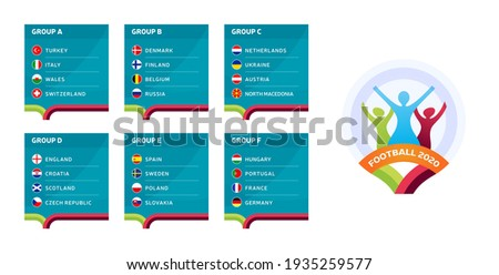 European football 2020 tournament final stage groups vector stock illustration. Euro 2020 European soccer tournament with background. Vector country flags