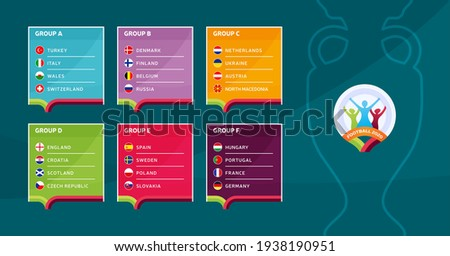 European football 2020 tournament final stage groups vector stock illustration. Euro 2020 European soccer tournament with background. Vector country flags Zdjęcia stock ©