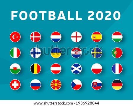 European football 2020 tournament flag set. Euro 2020 Vector country flag set for soccer championship. Foto stock ©