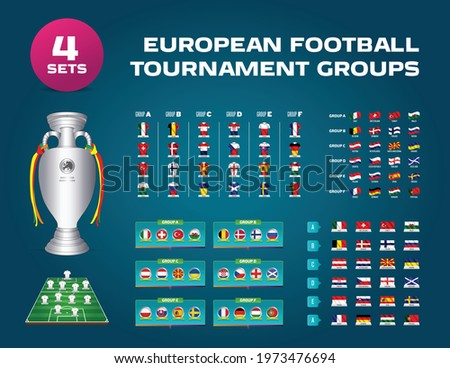European football tournament groups.Vector country flag set for soccer championship.