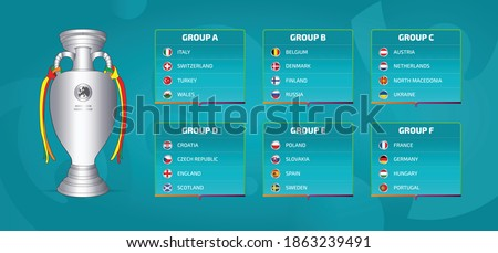 European football tournament groups.Vector country flag set for soccer championship with champion trophy illustration.