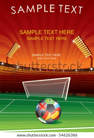 European Football, vector background with stadium, goal and national ball