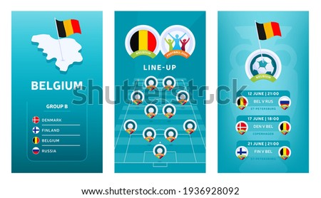 European 2020 football vertical banner set for social media. Euro 2020 Belgium group B banner with isometric map, pin flag, match schedule and line-up on soccer field Foto stock ©