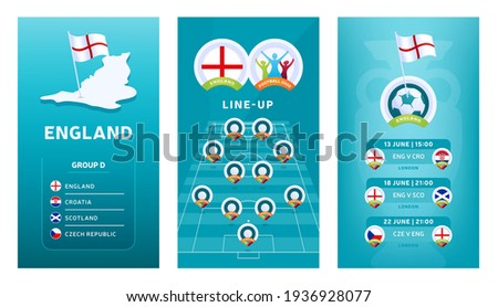 European 2020 football vertical banner set for social media. Euro 2020 England group D banner with isometric map, pin flag, match schedule and line-up on soccer field