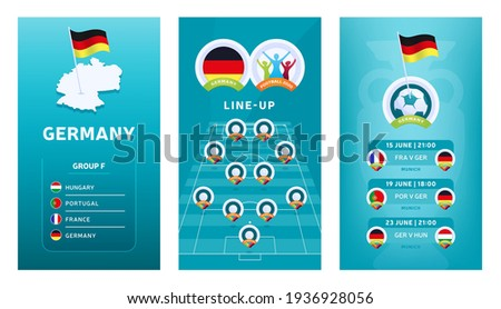 European 2020 football vertical banner set for social media. Euro 2020 Germany group F banner with isometric map, pin flag, match schedule and line-up on soccer field