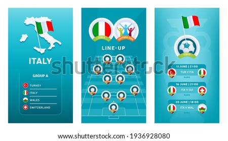 European 2020 football vertical banner set for social media. Euro 2020 Italy group A banner with isometric map, pin flag, match schedule and line-up on soccer field