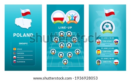 European 2020 football vertical banner set for social media. Euro 2020 Poland group E banner with isometric map, pin flag, match schedule and line-up on soccer field Stockfoto ©
