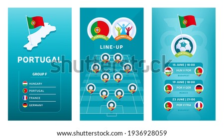 European 2020 football vertical banner set for social media. Euro 2020 Portugal group F banner with isometric map, pin flag, match schedule and line-up on soccer field