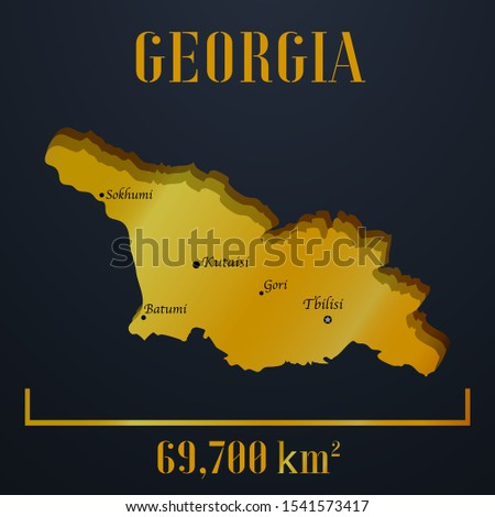 European Georgian, Tbilisi, Batumi golden 3d solid country outline silhouette, realistic piece of world map template, for infographic, vector illustration, isolated object, background. countries set