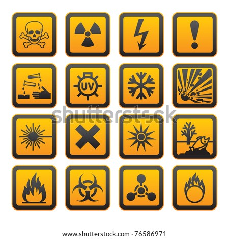 European hazard symbols, rounded corners