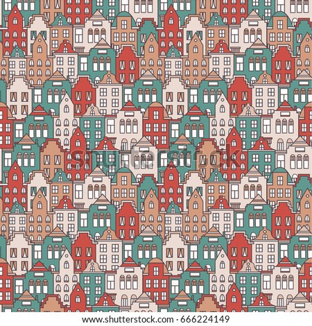 European houses set hand drawn seamless pattern. Colorful background vector. Wrapping with amsterdam houses, urban style design. Amsterdam panorama backdrop. Decorative wallpaper, good for printing