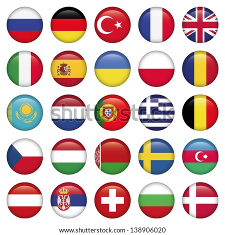 European Icons Round Flags, Zip includes high resolution image, Illustrator files. Vector with transparency.