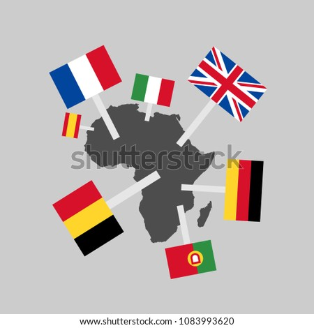 European imperialism and colonialism in Africa - Europe colonizes African continent. Territory is under super power of foreign country. Vector illustration of historical dominion and supremacy.