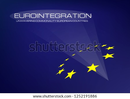 European integration process of uniting European countries. Abstract concept background with a symbol of the European Union.