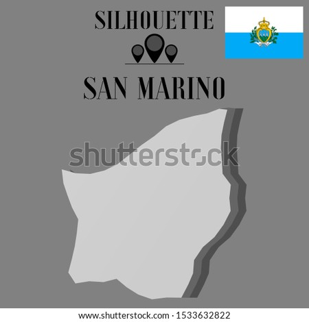 European, Italian San Marino, outline world map silhouette vector illustration, creative design background, national country flag, objects, element, symbols from countries all continents set.
