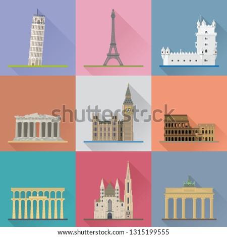 European Landmarks Flat Design Long Shadow Vector Illustration. Travel Concept.