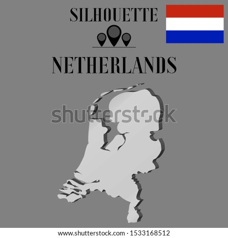 European Netherlands outline world map silhouette vector illustration, creative design background, national country flag, objects, element, symbols from countries all continents set.