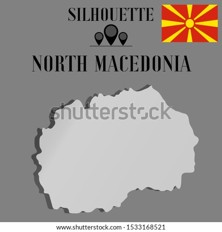 European North Macedonia outline world map silhouette vector illustration, creative design background, national country flag, objects, element, symbols from countries all continents set.