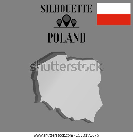 European Poland, Warsaw, Krakow outline world map silhouette vector illustration, creative design background, national country flag, objects, element, symbols from countries all continents set.