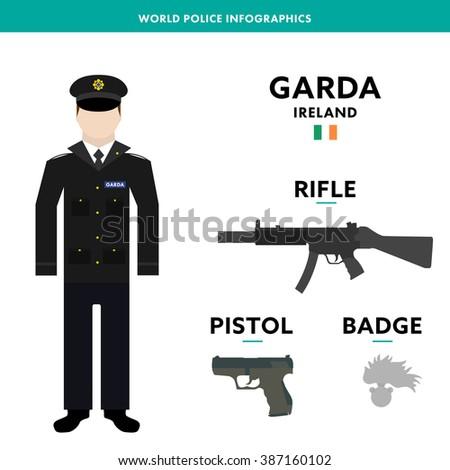 "European policeman infographic character vector illustration. Ireland police officer in standard uniform with equipment, rifle, pistol, badge. Text ""garda"" on image - Irish police"