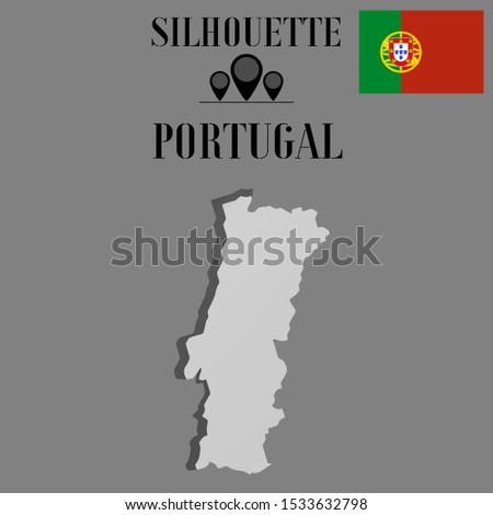 European Portugal outline world map silhouette vector illustration, creative design background, national country flag, objects, element, symbols from countries all continents set.