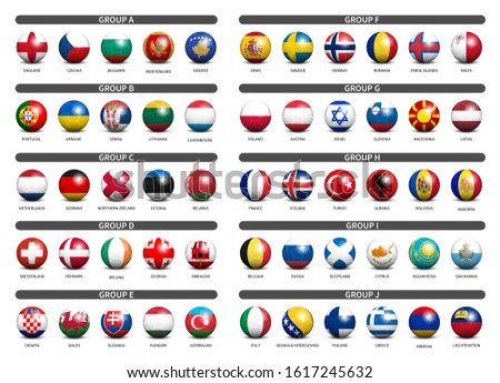 European soccer tournament qualifying draw 2020 . Group of international teams . 3D Football with country flag pattern . Vector .