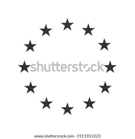 European star flag symbol. EU stars circle logo symbol. Round star frame template. Vector illustration image. Isolated on white background.