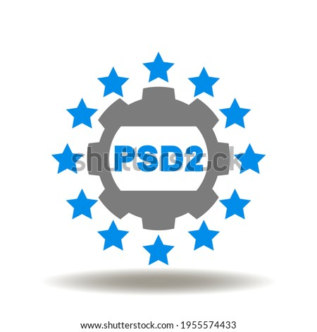 European stars round symbol with gear and PSD2 abbreviation vector icon. Open banking, PSD2, european payment directive symbol. Stock fotó ©