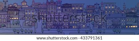 european town streetnight time