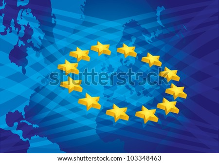European Union, brochure, presentation template with star - stock vector