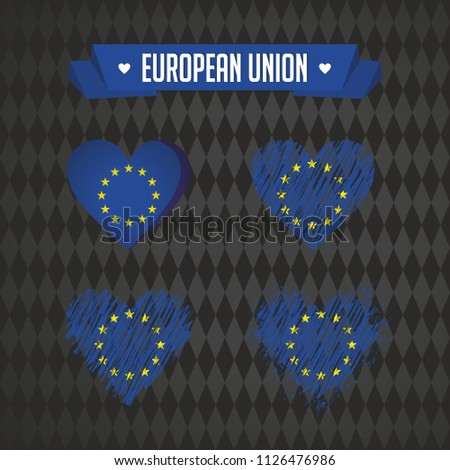 European Union Collection of four vector hearts with flag. Heart silhouette