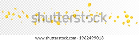 European Union Euro coins falling. Brilliant scattered EUR coins. Europe money. Popular jackpot, wealth or success concept. Vector illustration.
