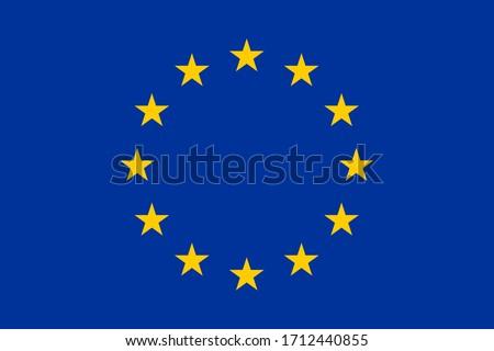 European Union flag. Circle of yellow stars over blue background. EU symbol, vector flag. Stars circle arrangement - Europe countries union sign.