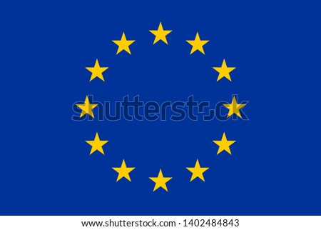 European Union flag vector illustraton. Circle ring of yellow gold stars over dark blue background. EU symbol, flag. Stars circle arrangement - Europe countries union sign