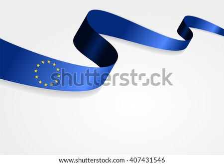 European Union flag wavy abstract background. Vector illustration.