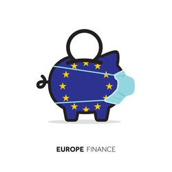 European Union healthcare cost. Piggy bank wearing a protective face mask