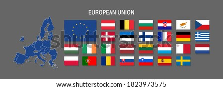 European Union map and flag vector icon. Political and economic signs and symbols. Countries for infographics and media Stockfoto ©