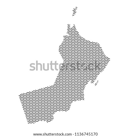 European Union map country abstract silhouette of wavy black repeating lines. Contour of sinusoid curve. Vector illustration.