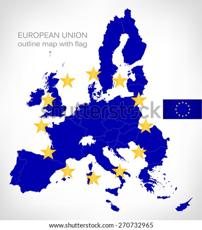 european union outline map with