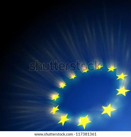 European Union stars glare on dark blue background.