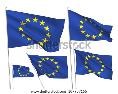 European Union vector flags. A set of 5 wavy 3D flags created using gradient meshes.