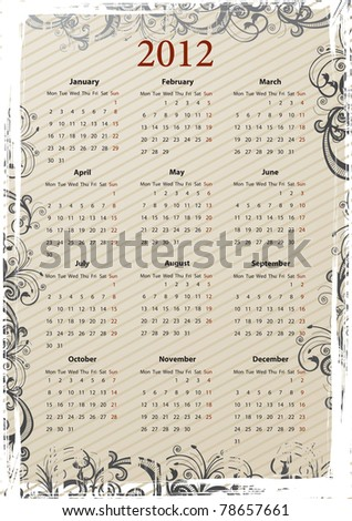 European Vector beige floral grungy calendar 2011, starting from Mondays - stock vector