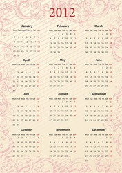 European Vector pink floral calendar 2012, starting from Mondays