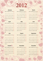 European Vector pink floral calendar 2012 with hearts, starting from Mondays