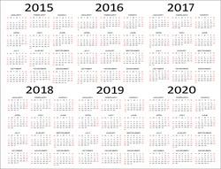 European 2015, 2016, 2017, 2018, 2019, 2020 year vector calendars