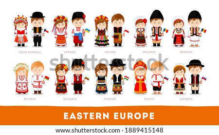 Europeans in national clothes. Eastern Europe. Set of cartoon characters in traditional costume. Cute people. Vector flat illustrations. ストックフォト ©
