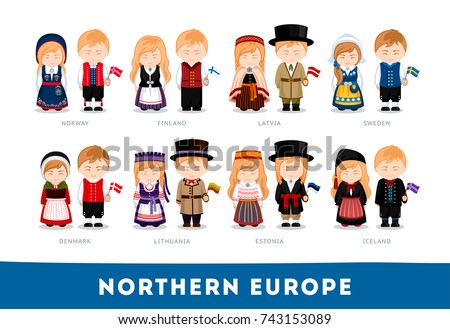 Europeans in national clothes. Northern Europe. Set of cartoon characters in traditional costume. Cute people. Vector flat illustrations.