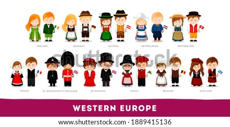 Europeans in national clothes. Western Europe. Set of cartoon characters in traditional costume. Cute people. Vector flat illustrations. Stockfoto ©